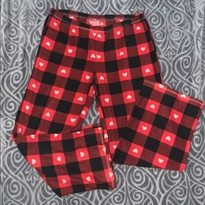 Fuzzy red heart pajama bottoms